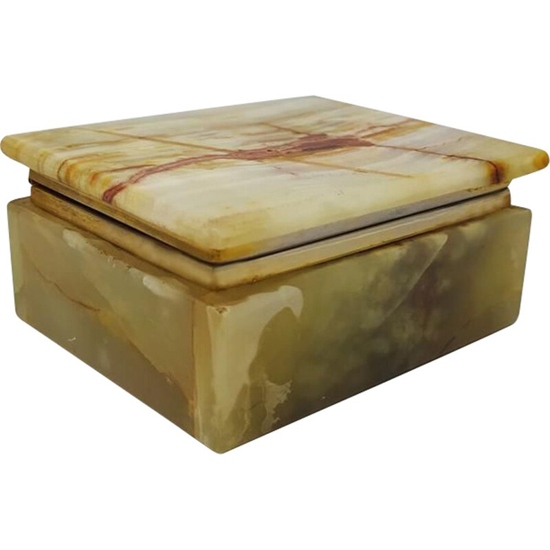 Vintage Green Alabaster Box Made in Italy 1960s