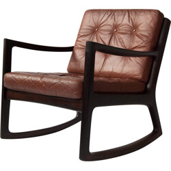Cado Danish rocking chair in rosewood and leather, Ole WANSCHER - 1960s