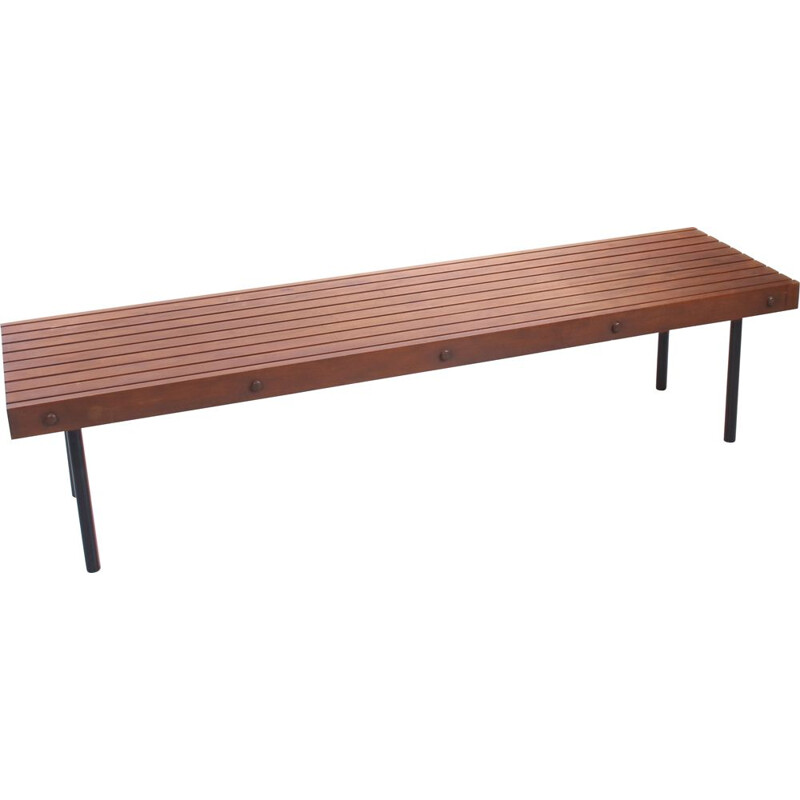 Vintage wooden bench with metal legs Germany