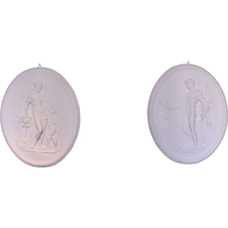 Pair of Vintage Bas-reliefs with mythological subjects Aphrodite and Adonis 1970s