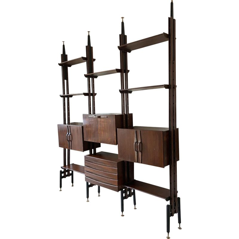Vintage Modular rosewood bookcase to Franco Albini, 1960s