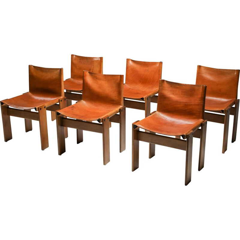 6 Vintage Cognac Leather 'Monk' Dining Chairs by Afra & Tobia Scarpa 1970s