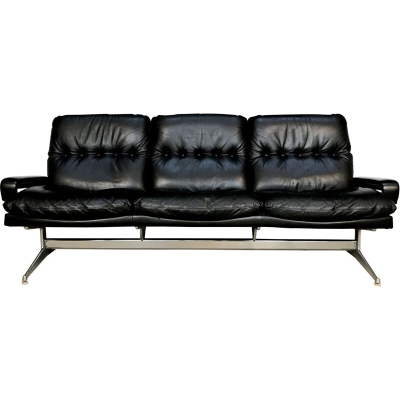 Vintage 'King' Leather 3-Seater Sofa by André Vandenbeuck for Strässle, 1960s