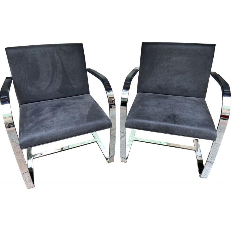 Pair of vintage grey armchairs Mies Van Der Rohe 2000