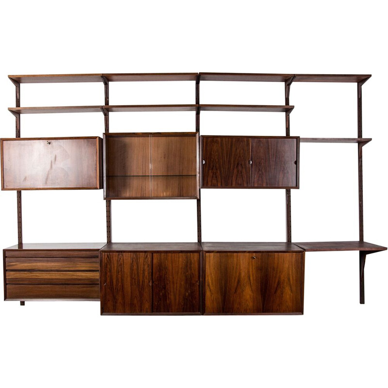Large modular vintage shelf in Rio Rosewood by Poul Cadovius Danish Poul 1960