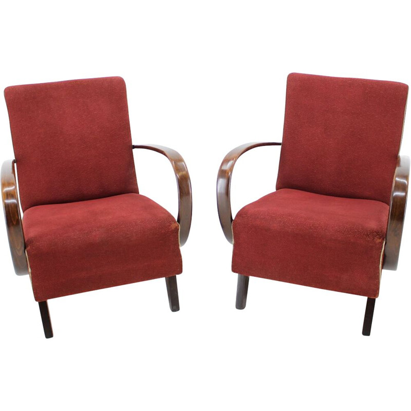 Pair of vintage armchairs by Jindřich Halabala 1950