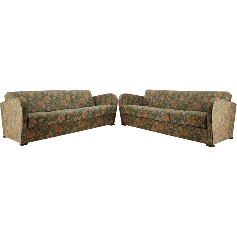 Pair of 3-seater vintage sofas, Art Deco, Jindřich Halabala 1930