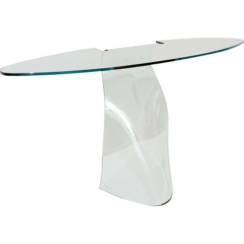 Vintage 'Dama' bent glass console by Makio Hasuike for FIAM, Italy