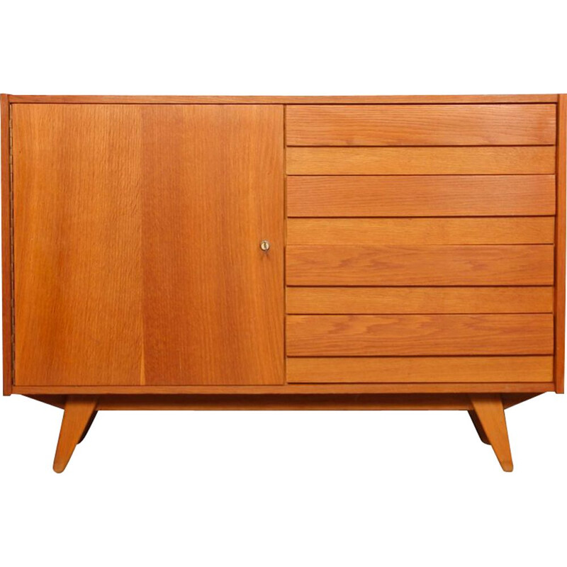 Vintage wooden chest of drawers with 4 drawers by Jiri Jiroutek, 1960