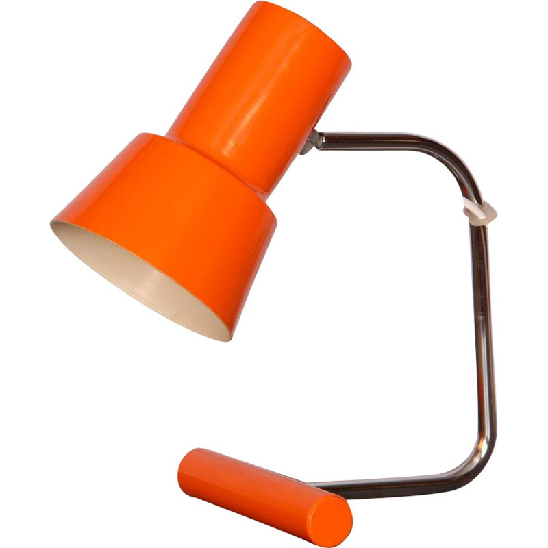 Small orange vintage table lamp by Josef Hurka for Napako, 1970