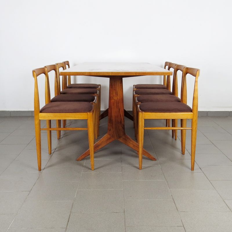 Set Of Dining Table And 8 Chairs Vintage Czechoslovakia 1960s Design Market