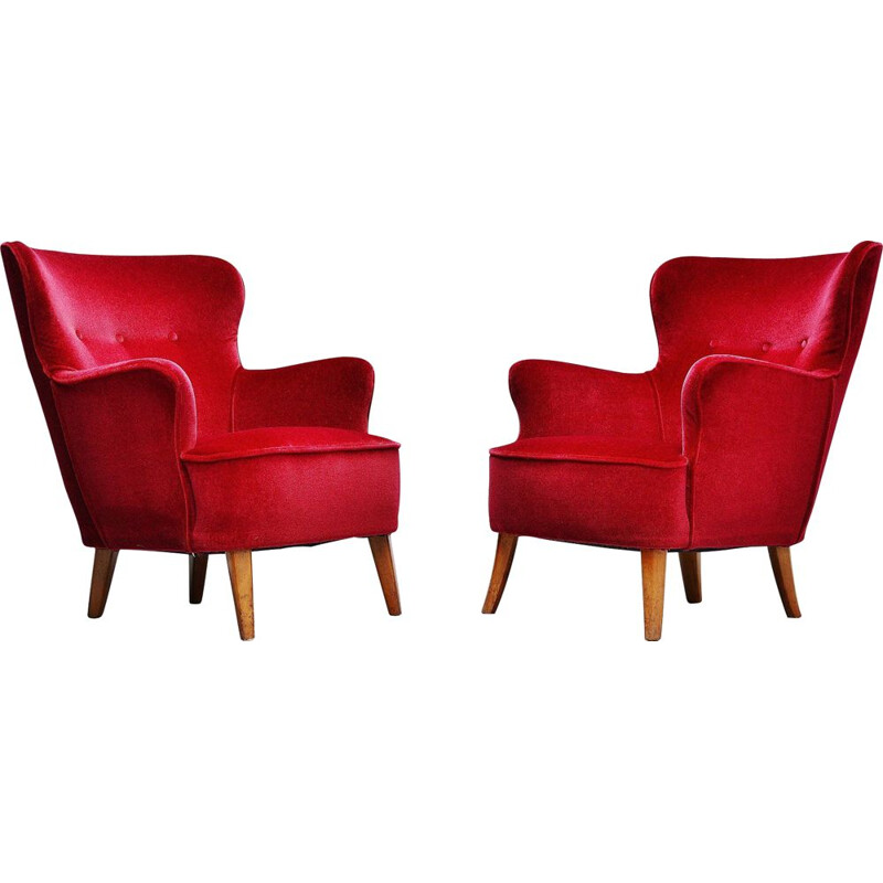 Pair of vintage Theo Ruth lounge chairs Artifort 1955