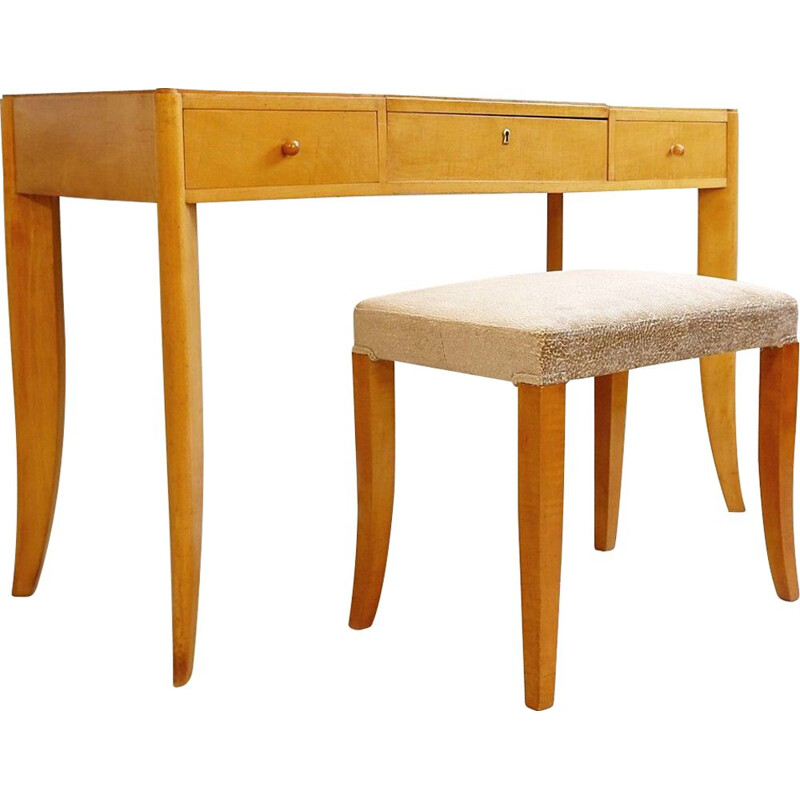Vintage De Coene Vanity Table With Drawers And Bench, Belgium 1940