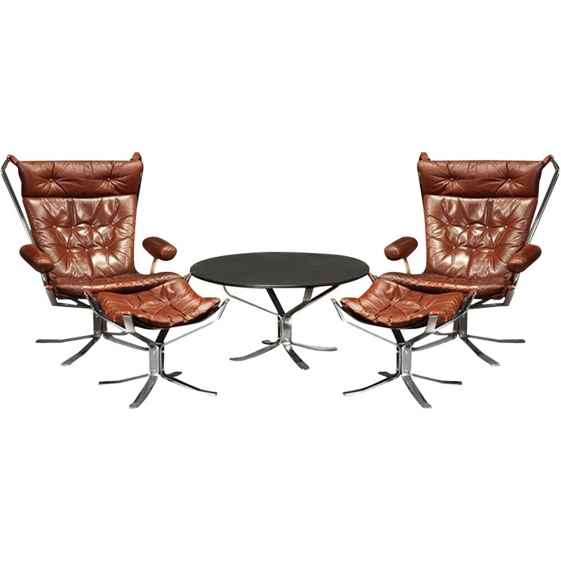 Vintage Sigurd Ressell chrome and leather Falcon lounge chairs, Ottomans and Falcon table Scandinavian