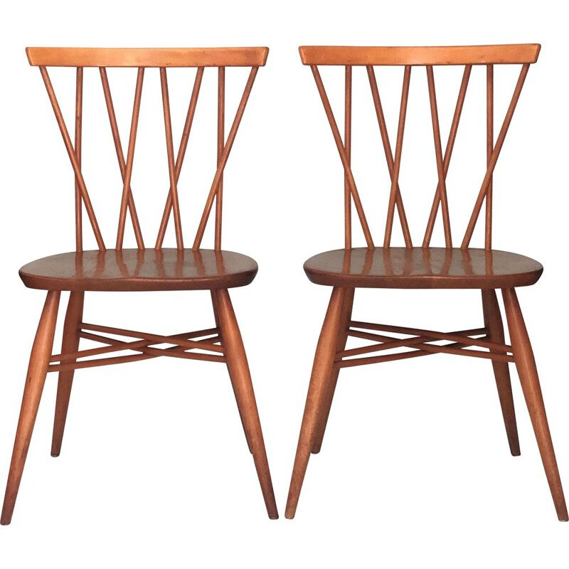 Pair of vintage Candlestick Chairs by Lucian Ercolani for Ercol 1969