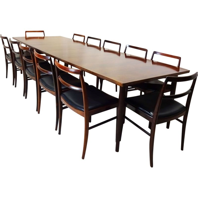 Mid century model 201 extending dining table with 12 model 430 chairs Arne Vodder Danish