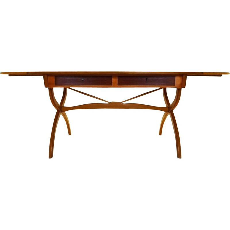 Mid Century Beech and Teak drop leaf desk  Børge Mogensen Danish 1957