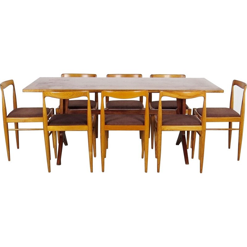 Set of dining table and 8 chairs vintage Czechoslovakia 1960s
