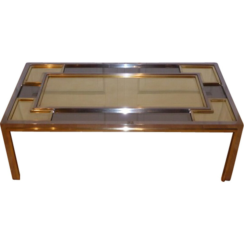 Italian Nazaret coffee table in glass and brass - 1970s