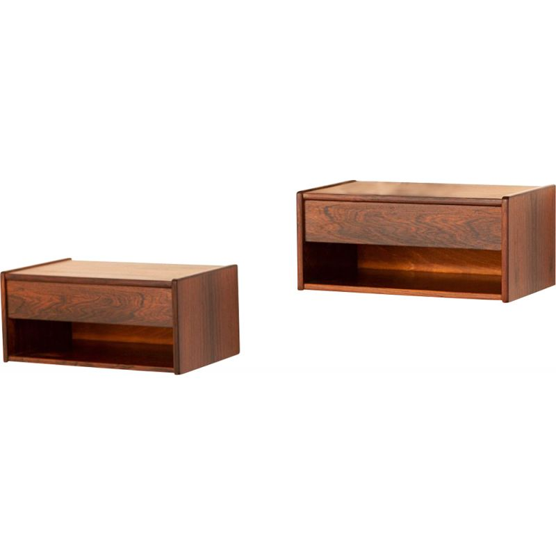 Set of 2  Mid century rosewood floating night stands Danish 1960s