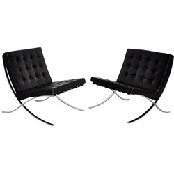 "Pair of Knoll ""Barcelona"" low chairs, Ludwig MIES VAN DER ROHE - 1970s"