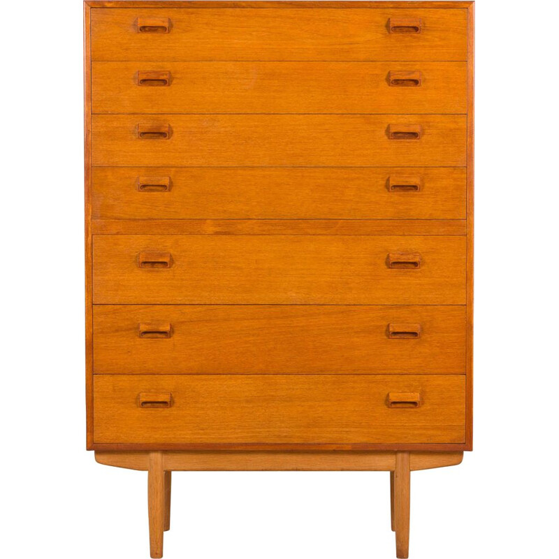 Vintage Chest of drawers by Borge Mogensen 7 drawers teak highboy dresser, Denmark 1950s