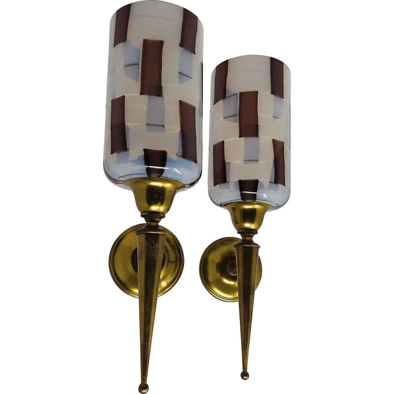 Pair of Vintage 'Pezzato' by Ercole Barovier for Barovier & Toso 1950s