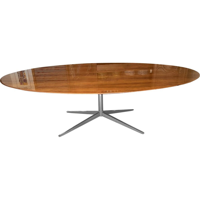 Vintage oval table Florence Knoll in American walnut 1970