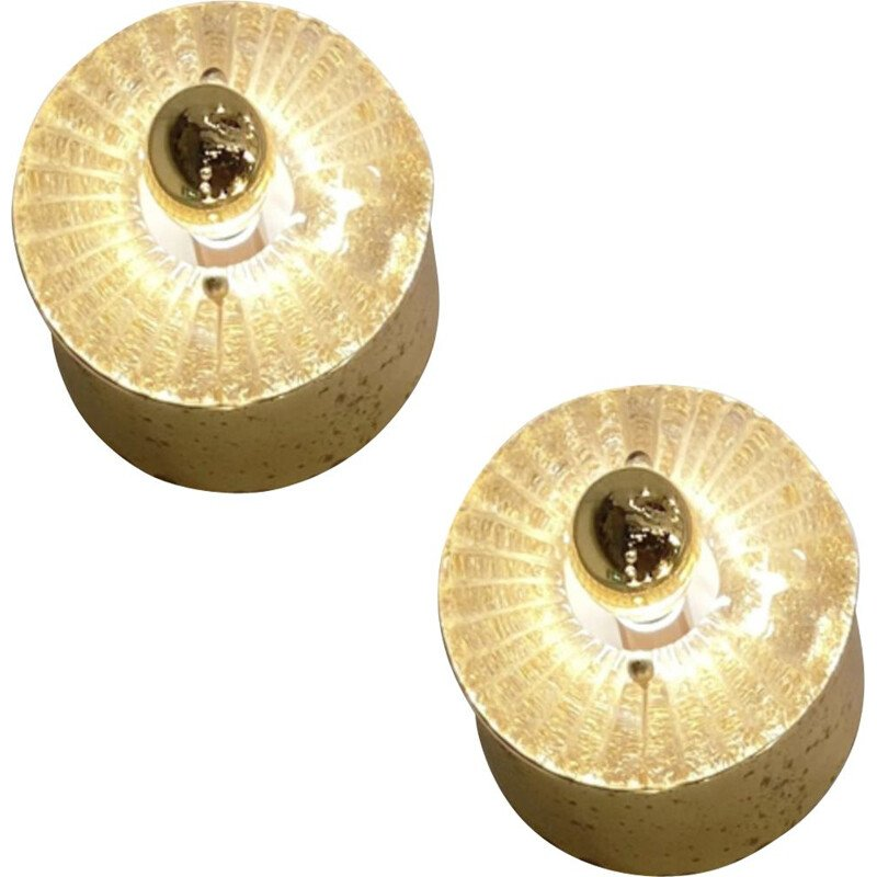Suite of 10 vintage spotlights in blown glass and golden brass 1980