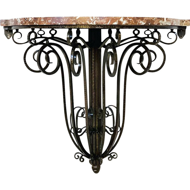 Vintage console table Art Deco, Wrought Iron And Marble  1930