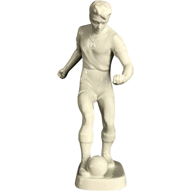 Vintage  Football player porcelain figure Hollóháza 1940