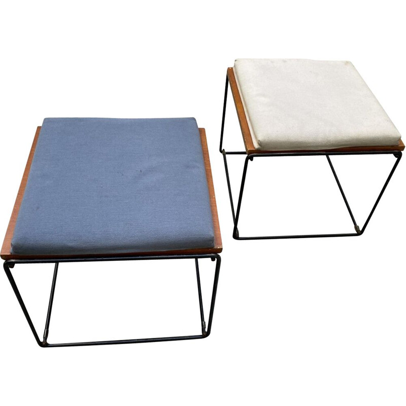 Pair of vintage reversible side tables and stool, Pierre Guariche 1975