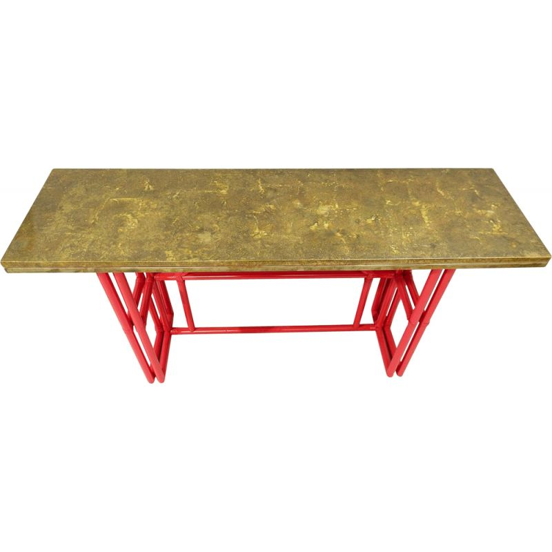 Vintage red lacquered bamboo console with gold lacquered top, Italy
