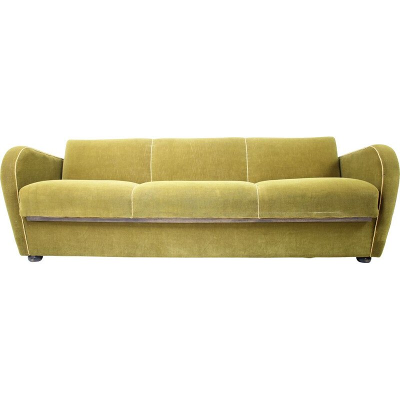Vintage sofa bed H-363 by Jindřich Halabala, Art Deco, Czechoslovakia 1930
