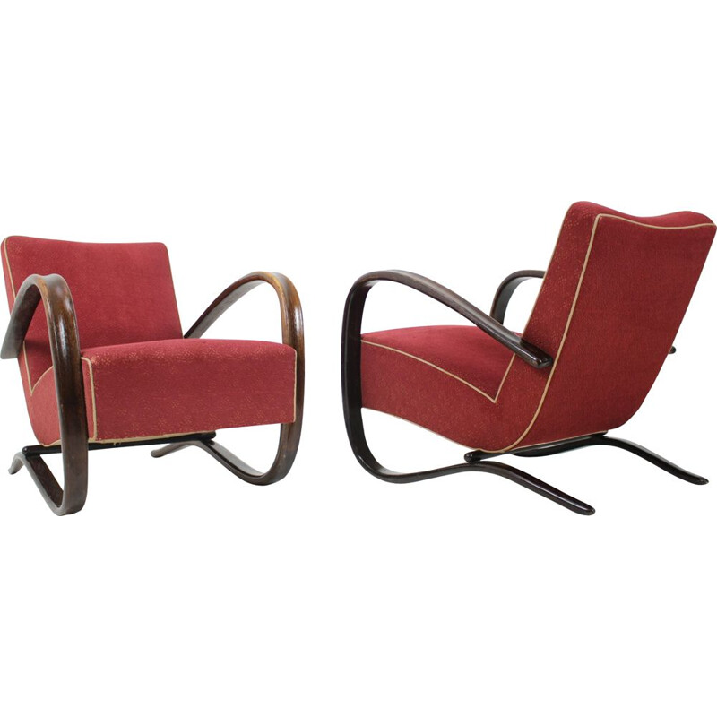 Pair of vintage armchairs H 269 by Jindrich Halabala, Art Deco, Czechoslovakia 1930