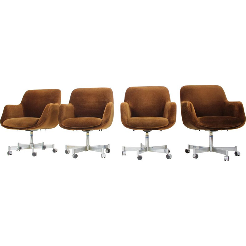 Set of 4 vintage swivel office armchairs 1970