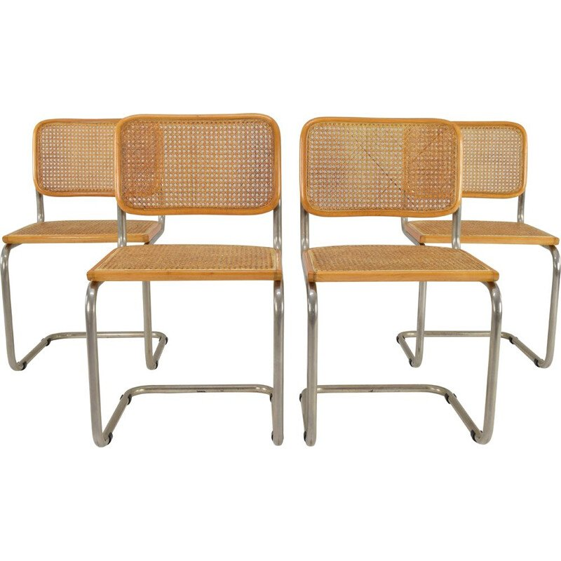 Set of 4 vintage chairs Cesca , model B32, Marcel Breuer, Italy 1970