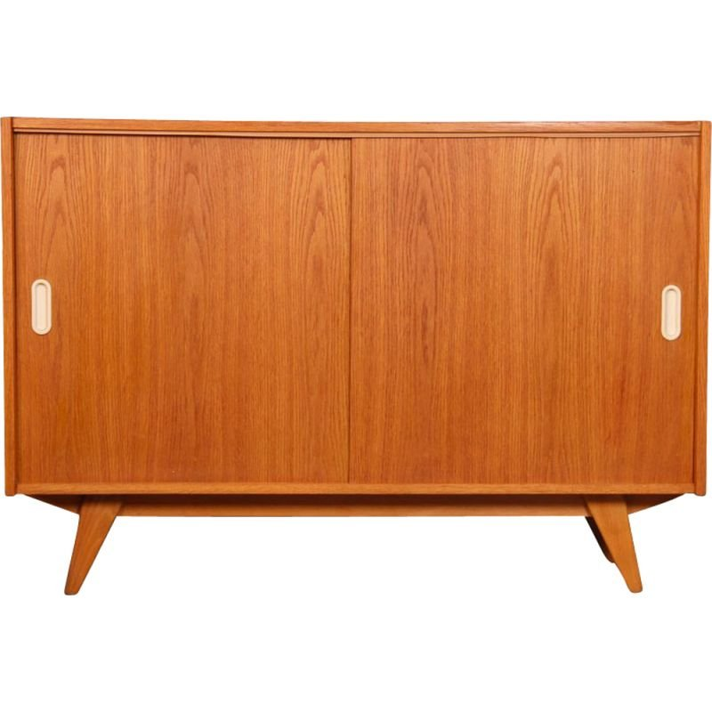 Vintage oak chest of drawers with sliding doors by Jiri Jiroutek, 1960