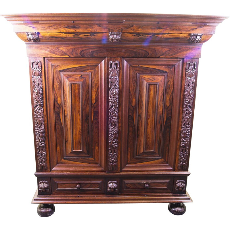 Vintage Carved Rosewood and Oak Armoire, Flemish mid 20th century