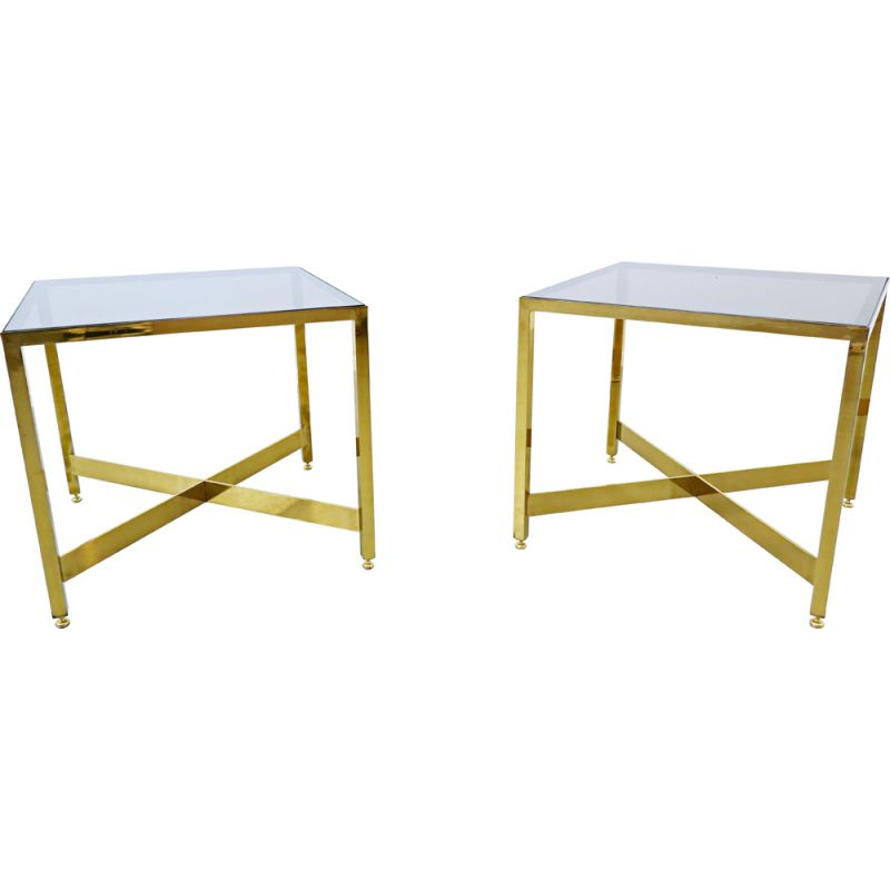 Pair of vintage brass side tables with glass top Italian 1970s