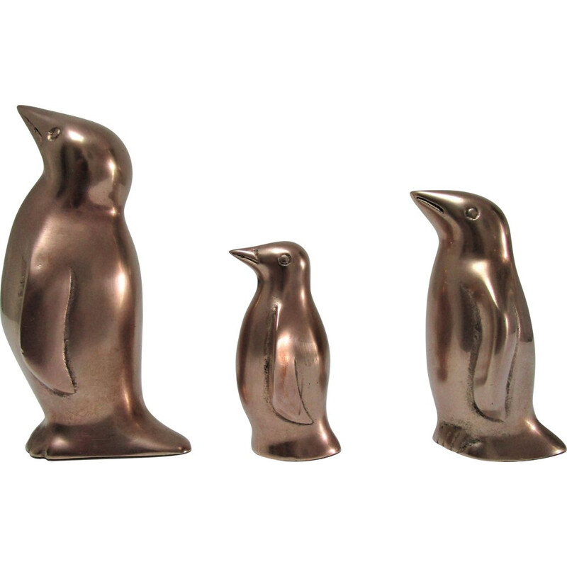 3 vintage brass penguins caravell 1970