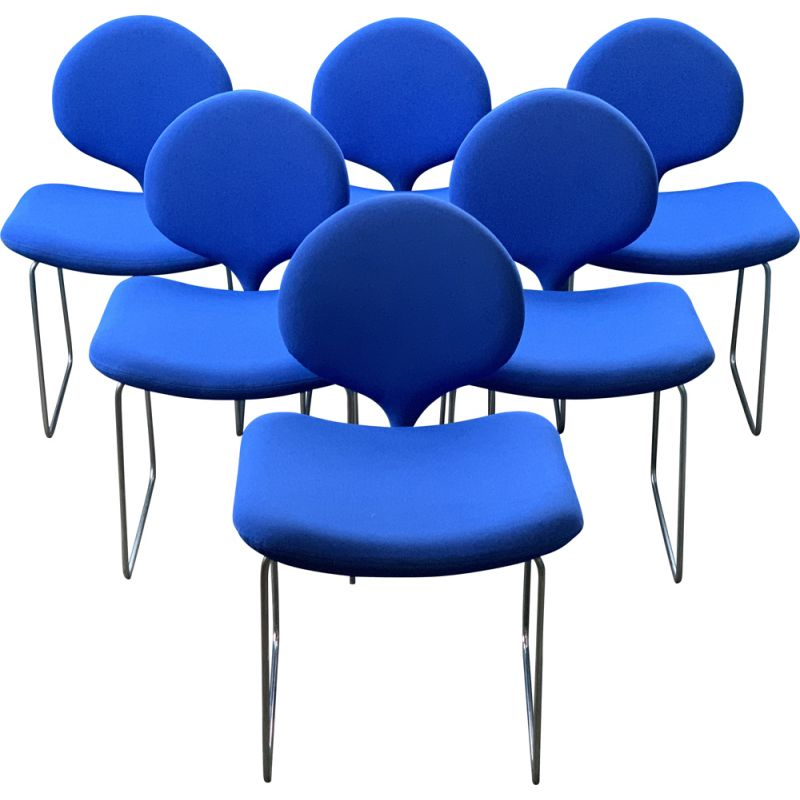 Series of 6 vintage chairs Djinn Olivier Mourgue ed Airborne blue fabric Gabriel 1968