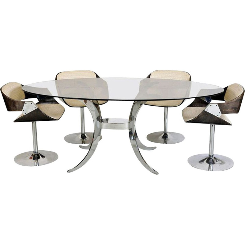 Vintage Tulip Chrome Glass Table and Chair Roche Bobois 4 x Luna Space Age French 1970