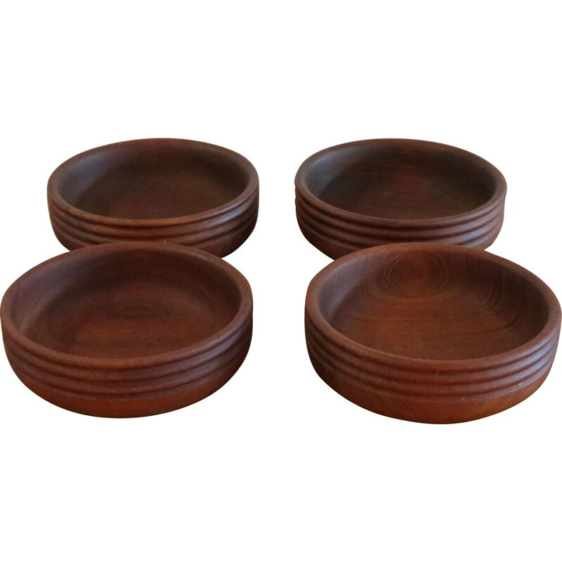 Set Of 4 Vintage Hand Teak Wooden Bowls By Galatix 1960s