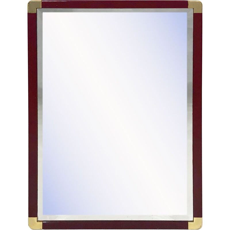Vintage Burgundy Lacquered And Brass Bevelled Wall Mirror Hollywood Regency 1970s