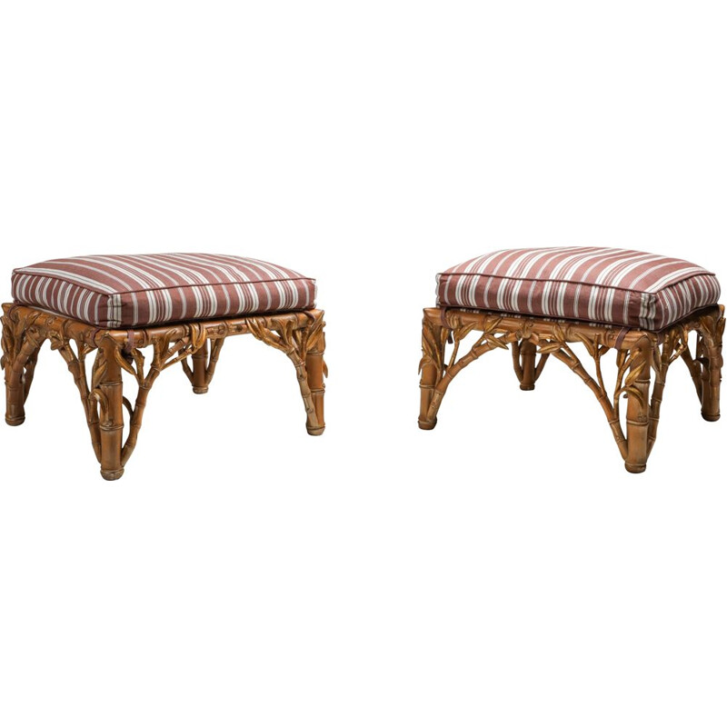 Pair of vintage ottoman, Arpex Italy Bamboo 1970s