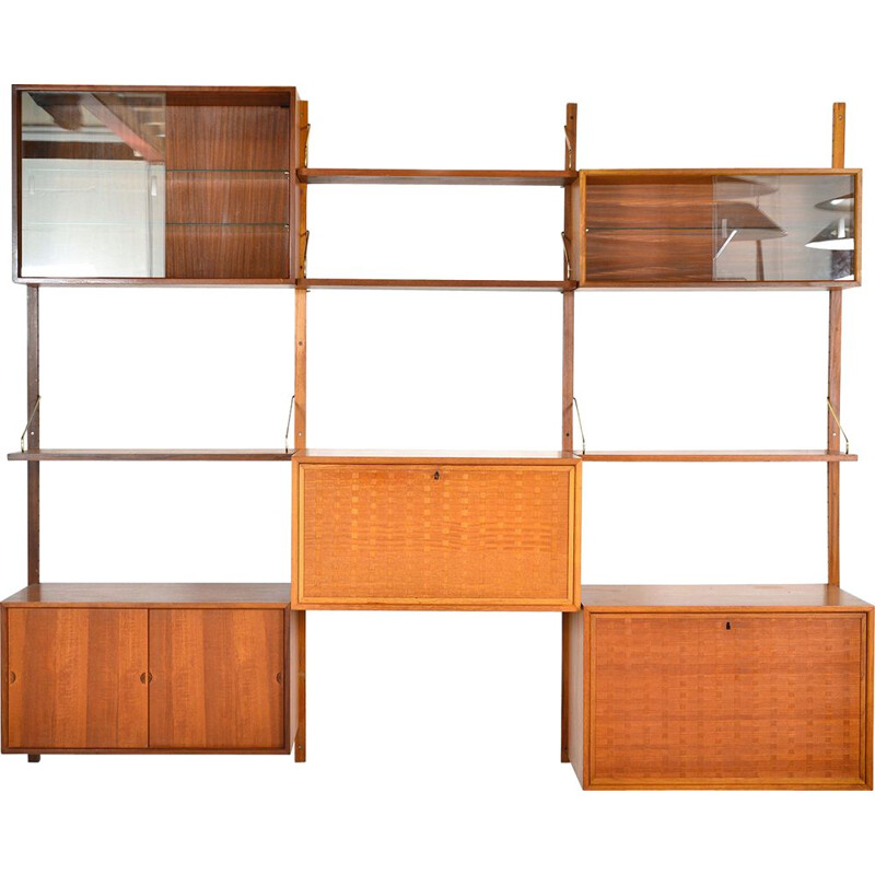 Midcentury Royal System Teak Wall Unit Shelving by Poul Cadovius Danish 1948