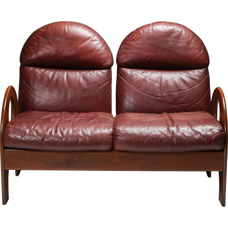 Vintage Gae Aulenti 'Arcata' Love Seat in Walnut and Burgundy Leather 1968