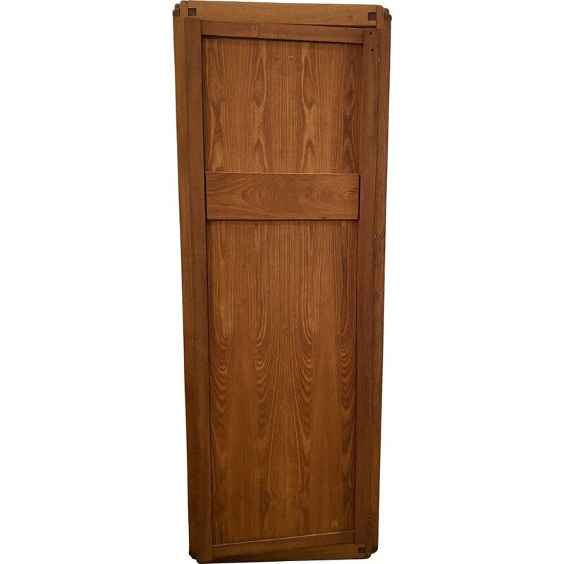 Vintage GO wardrobe in solid elm by Pierre Chapo 1975