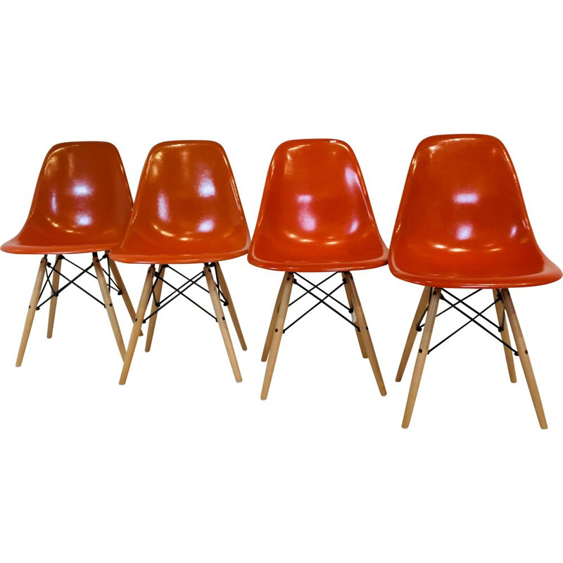 4 Vintage Orange DSW chairs by Charles & Ray Eames, USA 1977